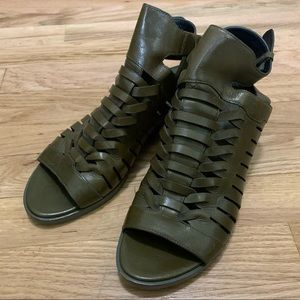 Alexander Wang olive green wedge sandals size 38